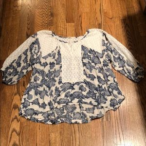 FREE PEOPLE LACE AND FLORAL DRESSY TOP